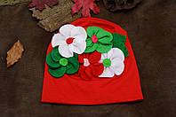 Шапочка для девочки демисезонная со цветком из ткани