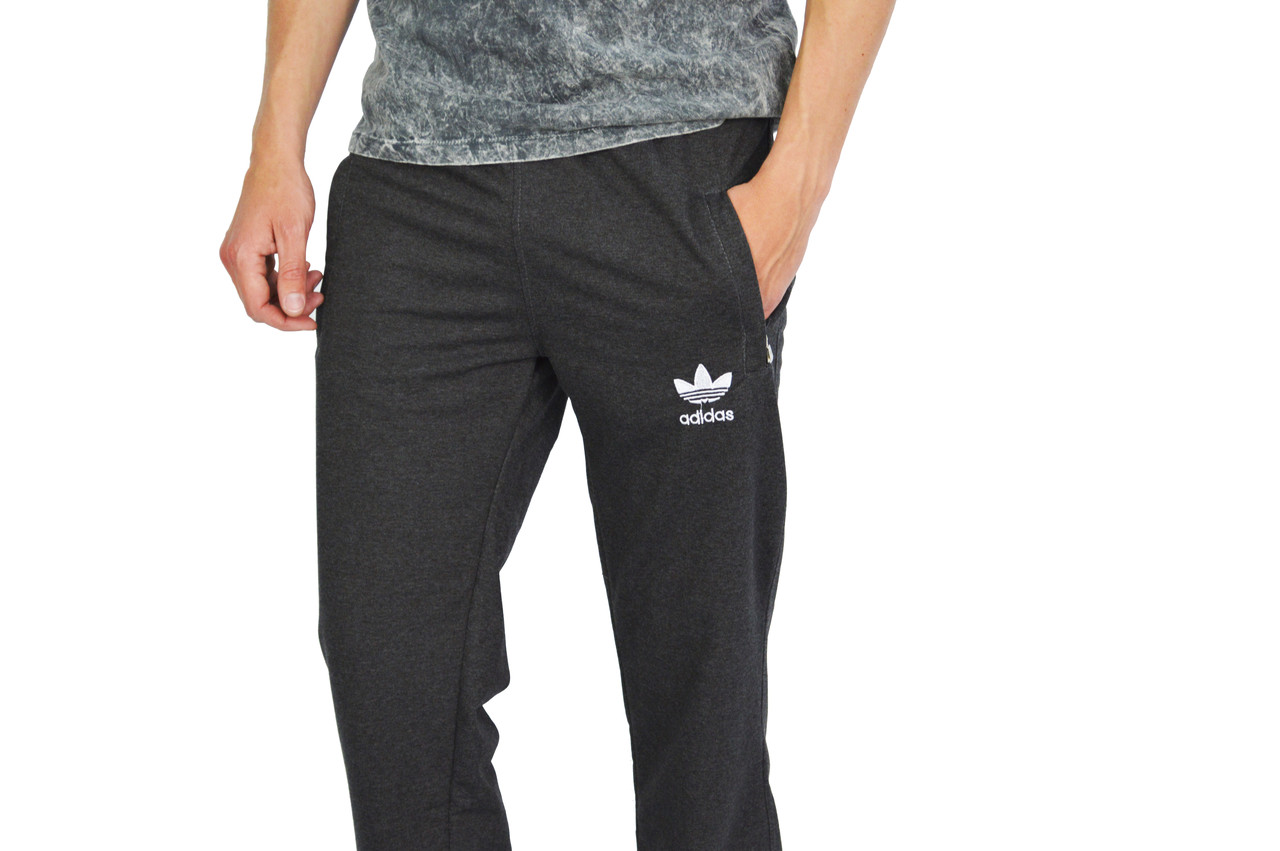 Темно-Серые мужские трикотажные штаны спортивные ADIDAS