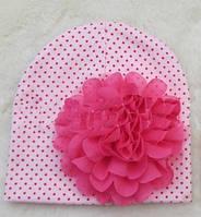 Шапочка для новорожденных двойная со цветком