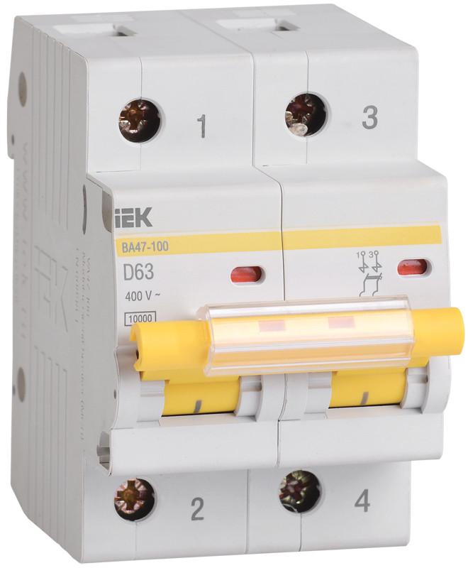 Автоматический выключатель ВА47-100 2Р100А 10кА х-ка D ИЭК