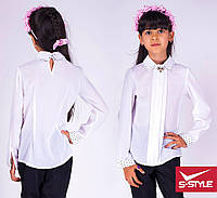Красивая белая блузка для школы
