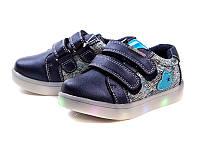 Детские кроссовки с светящейся подошвой на девочек оптом от Y.Top H17259-7 (12/6 пар, 26-31)