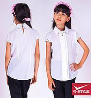 Красивая белая  блузка  с короткими рукавами для школы