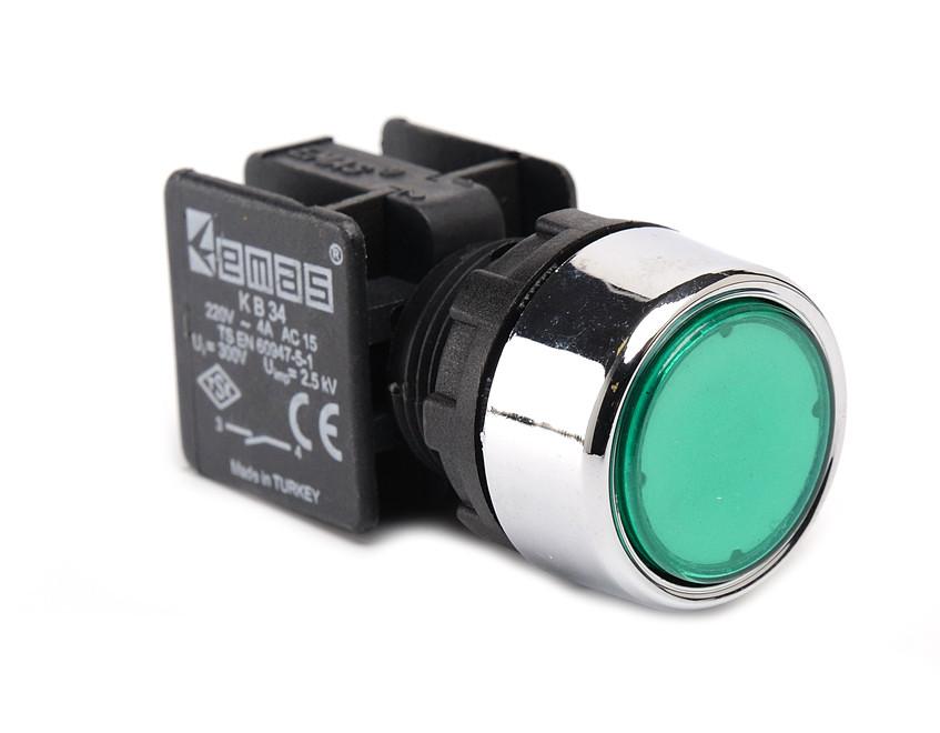 Кнопка нажимная KB34DY круглая (1НО) зеленая Эмас
