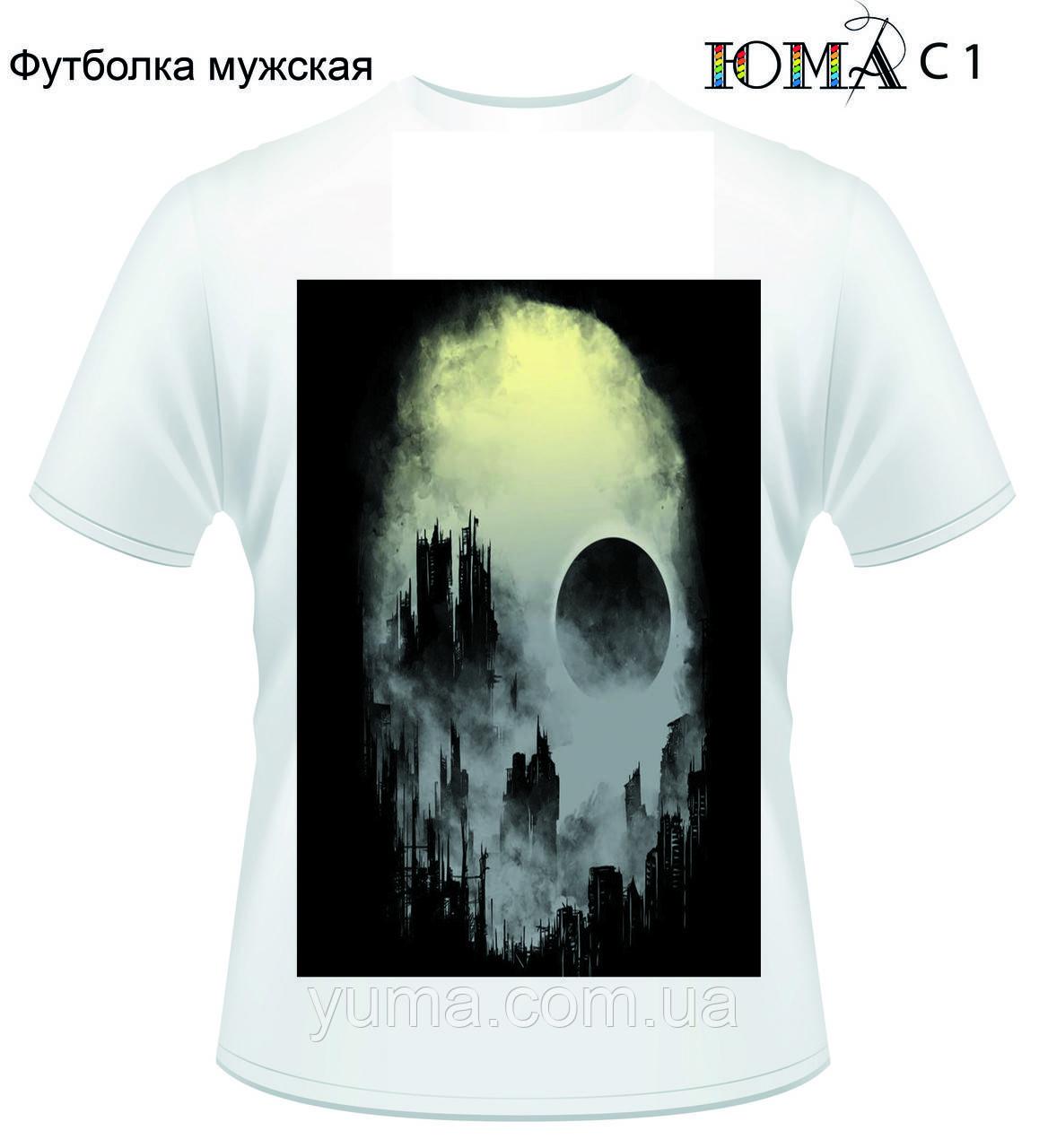"""Мужская футболка с рисунком """"Город во тьме"""""""