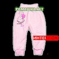 Штанишки на широкой резинке р. 68 демисезонные ткань ИНТЕРЛОК 100% хлопок ТМ Алекс 3297 Розовый А
