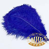 Перо страуса, цвет синий, размер 40-45cм*1шт.