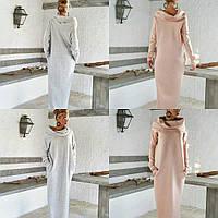 Женское длинное платье с хомутом и карманами