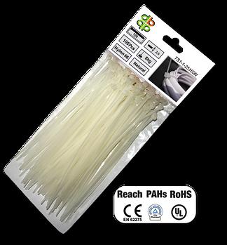 Стяжки кабельные пластиковые белые  2,5*100 мм.