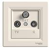 Розетка TV-R-SAT крем проходная 8dB Asfora