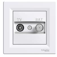 Розетка TV-SAT белая проходная 4dB Asfora