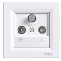 Розетка TV-R-SAT белая проходная 4dB Asfora