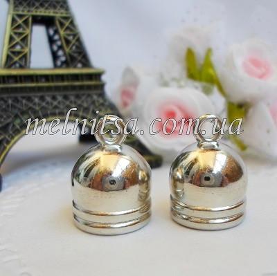 Концевик-колпачок  для бисерных жгутов, 10 мм, цвет серебро, 1 пара