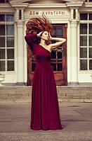 Женское пышное платье с одним рукавом в пол