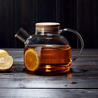 Заварочный стеклянный чайник с деревянной крышкой и фильтром-пружинкой в носике, объем 1 л.