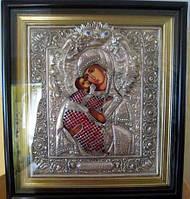 Икона Божьей Матери Владимирская в посеребренной ризе 40*36 см