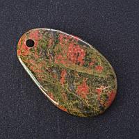 Кулон Гелиотроп Яшма нат камень срез 5х3см (+-)
