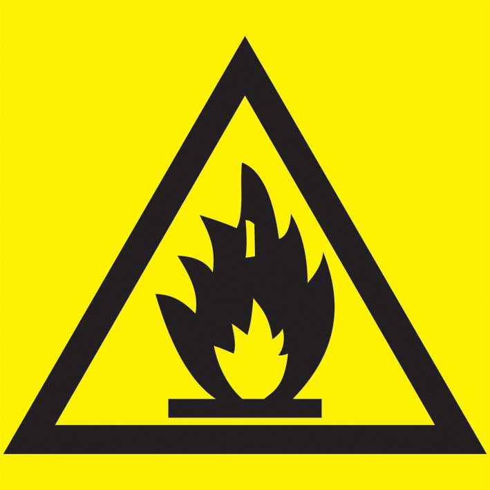"""Самоклеящаяся этикетка: 150х150 мм, """"Пожароопасно"""""""