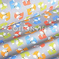 Бязь Лисички разноцветные на сером, фото 1