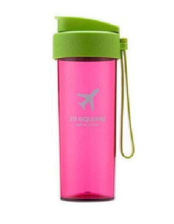 Дорожная бутылочка для воды розовая с салатовой крышкой