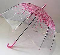 """Зонт трость прозрачная на 8 спиц с цветочным рисунком от фирмы """"Flagman"""""""