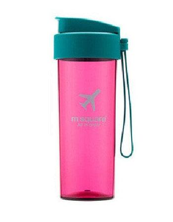 Дорожная бутылочка для воды розовая с бирюзой