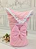 """Вязанный весенний конверт-одеяло  """"Дуэт"""" (подклад хлопок) розовый"""