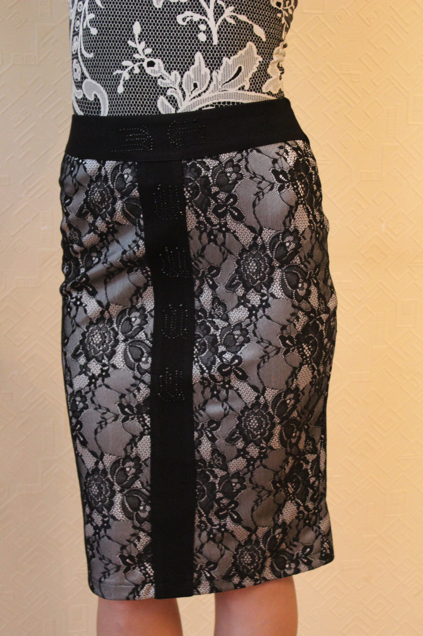 Кружевная юбка миди 42-48 р ( белый, сиреневый )