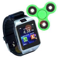 Смарт часы Smart Watch Phone DZ09 Black с Sim картой + Спинер в подарок, фото 1