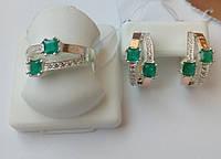 Серебряный комплект с золотом и зеленым камнем Вдвоем