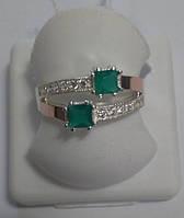 Кольцо из серебра и золота c зеленым камнем Вдвоем