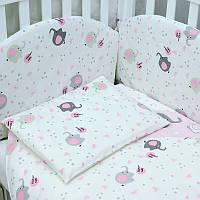 """Защита /бампер в кроватку """"Elephant"""" pink Верес™"""