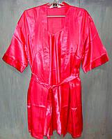 Домашний комплект атласный: халат и пеньюар размер XXXL (50-52), шелк, фуксия