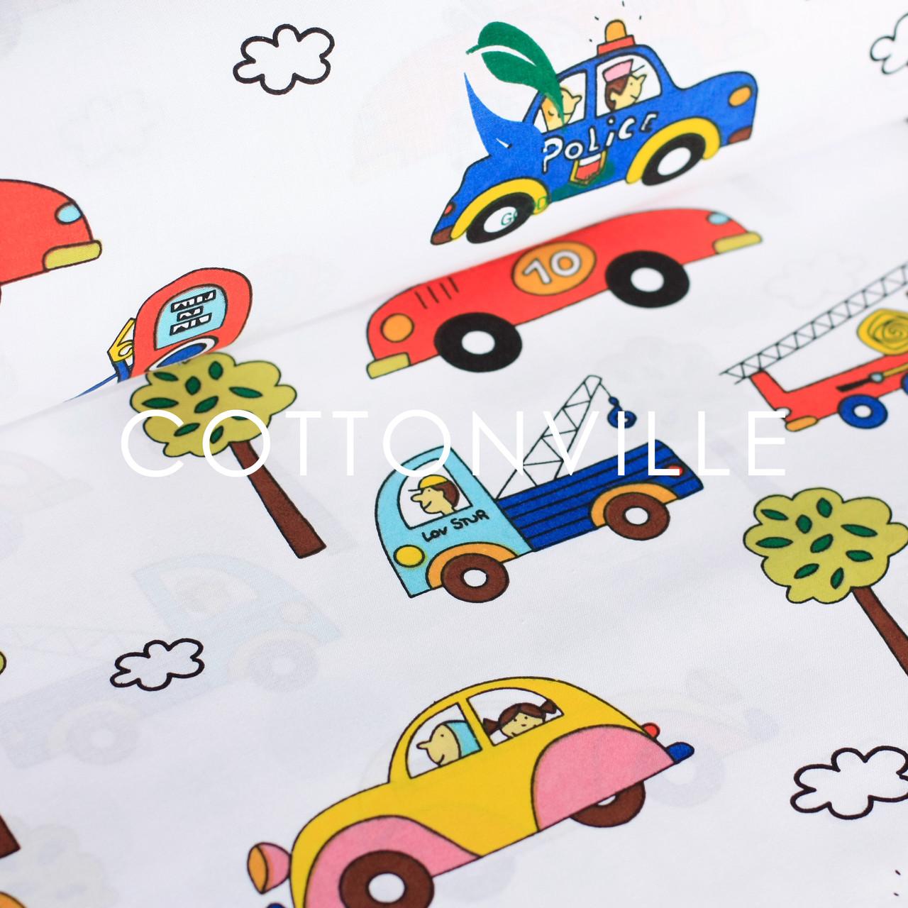 Хлопковая ткань Машинки в городе