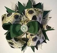 Бантики на резинках цвет айвори+черный+зеленый