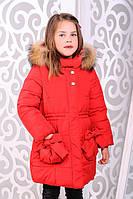 Куртка для девочки зимняя удлиненная  с мехом енота красная