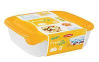 Набор емкостей для пищевых продуктов 3 шт по 2л/1л/0,5 л, желтый/прозрачный FRESH&GO Curver 182598