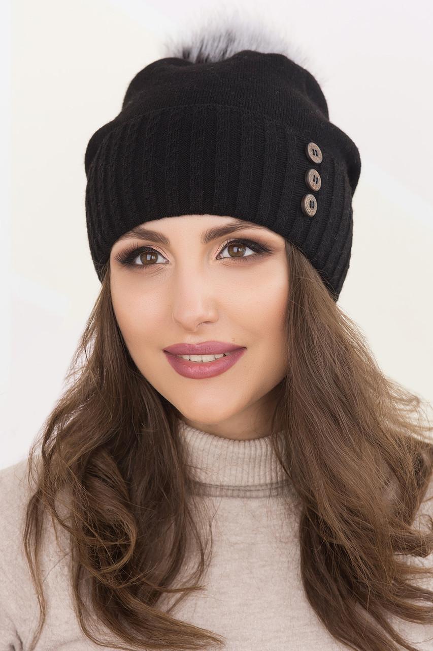 Женская шапка «Витон» с помпоном чернобурка
