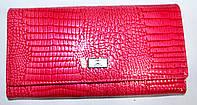 Женский кожаный лаковый кошелек на кнопке (розовый), фото 1