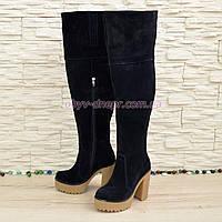 Ботфорты зимние синие замшевые на высоком устойчивом каблуке. 37 размер