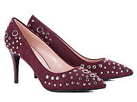 Классические женские туфли на каблуке оптом от фирмы Башили 35087-5 Bordo (6пар 36-40)