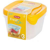 Набор емкостей для пищевых продуктов 3 шт по 1,2 л, желтый/прозрачный FRESH&GO Curver 182221