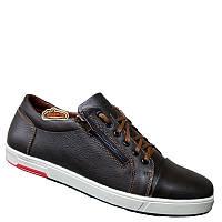 Мужские кожаные кроссовки темно-коричневого цвета