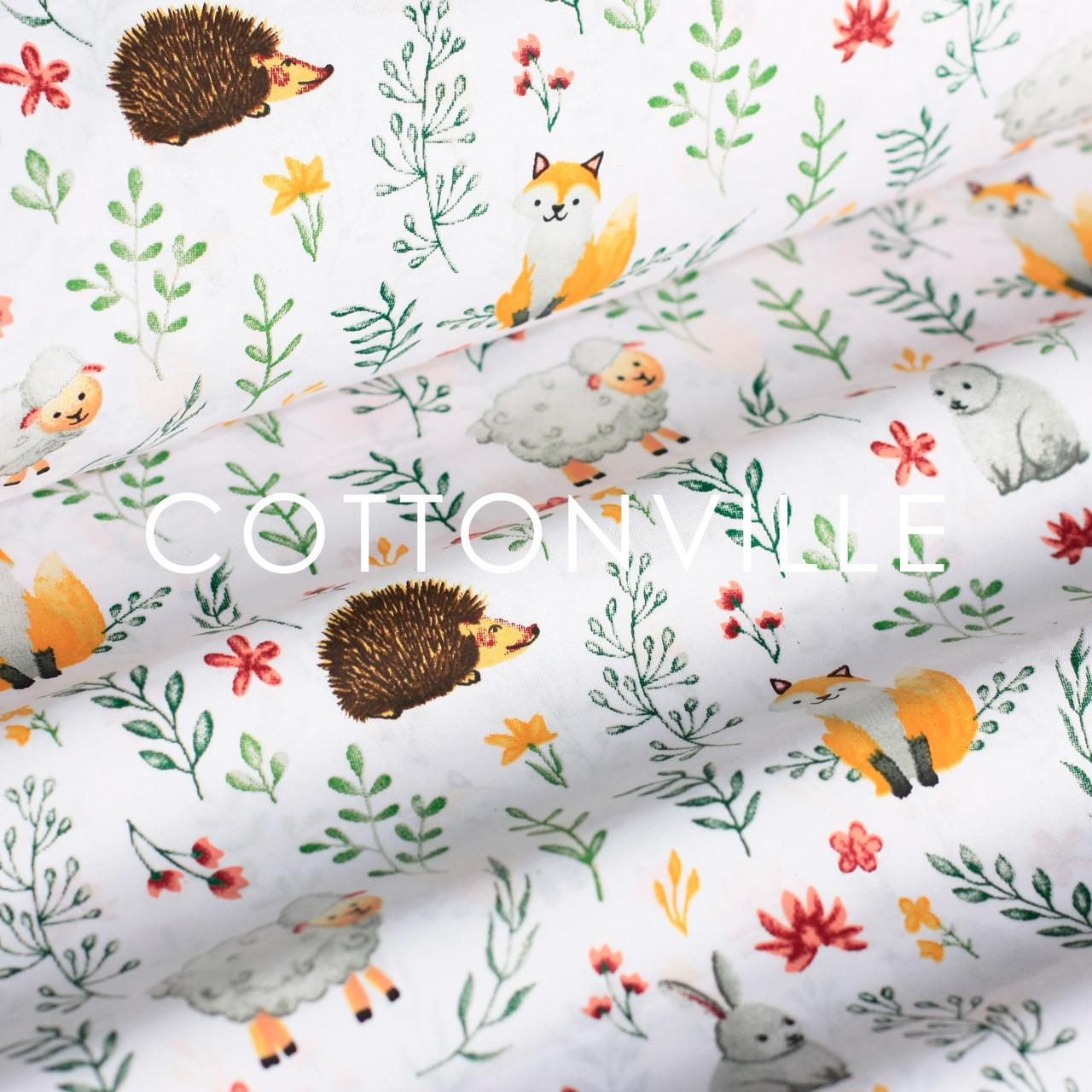 ✁ Отрезы хлопковой ткани Зверята в цветочках