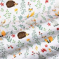 Хлопковая ткань Зверята в цветочках