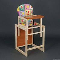 Деревянный детский стульчик трансформер, столик для кормления Сова.