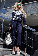 Женскийспортивный костюм стильный с принтом синий