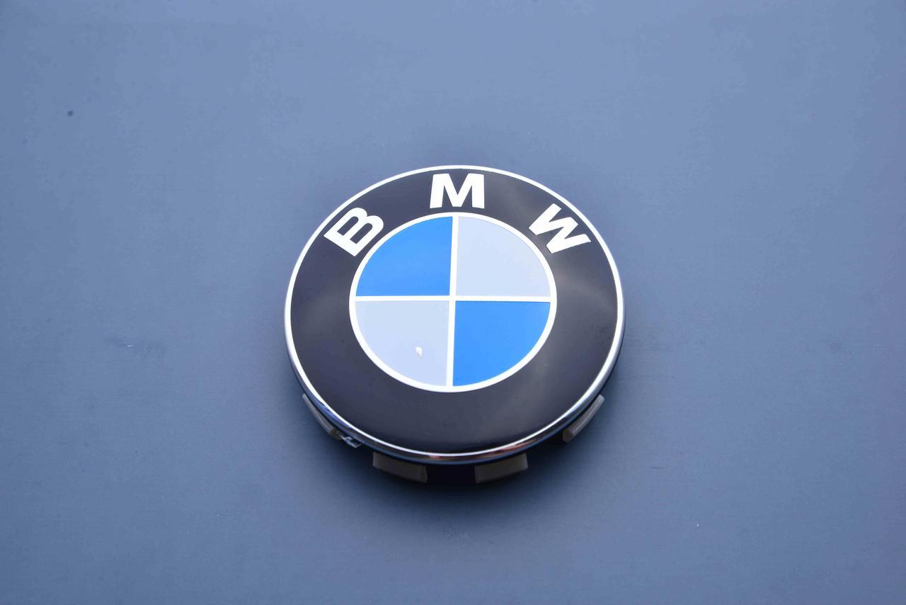 Колпачки заглушки на литые диски  в диски BMW (БМВ) (68.5/65/10) 36136783536 бело-синие