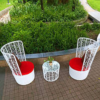 Купить дизайнерский набор кресел и пуфик в Украине из ротанга