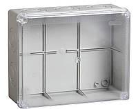Коробка КМ41275 распаячная для о/п 240х195х90 мм IP44 (RAL7035, прозр. кр., кабельные вводы 5 шт)